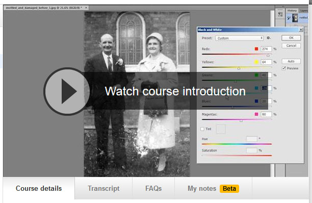 Watch my first photo restoration course on Lynda.com