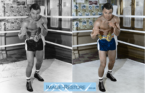 Skin recolouring is either done well or looks garish and unnatural or flat. Boxer Dave Charnley the DartFord Destroyer