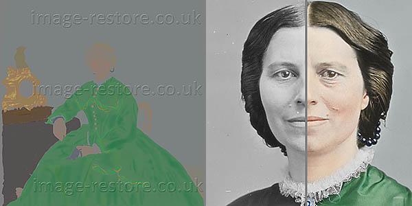 Clara Barton 1865 progress of colouring the image