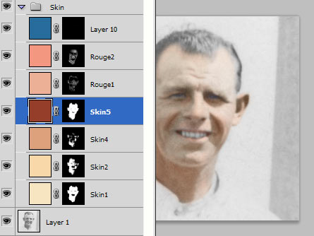 Colourising or tinting an old photo with layers final colour stack