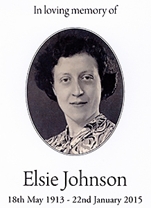 Elsie Johnson (née Pearce) 18th May 1913 - 22 Jan 2015