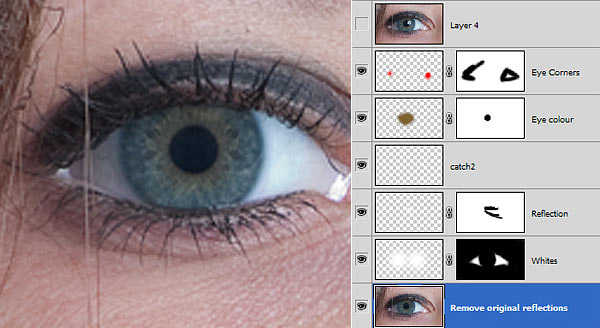 Retouching eyes layers pallete