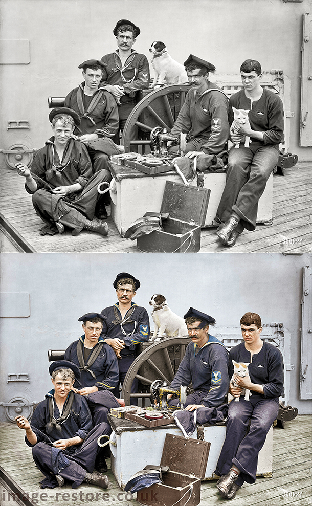 Old photo in colour. 1896 USS New York Sailors