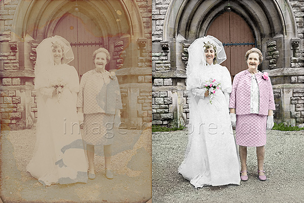Old wedding photo restored in colour