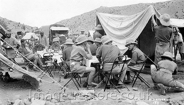 Stopping for tea Afghanistan desert WW1