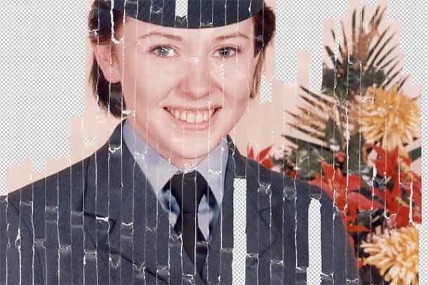 Shredded photo part way through the photo restoration