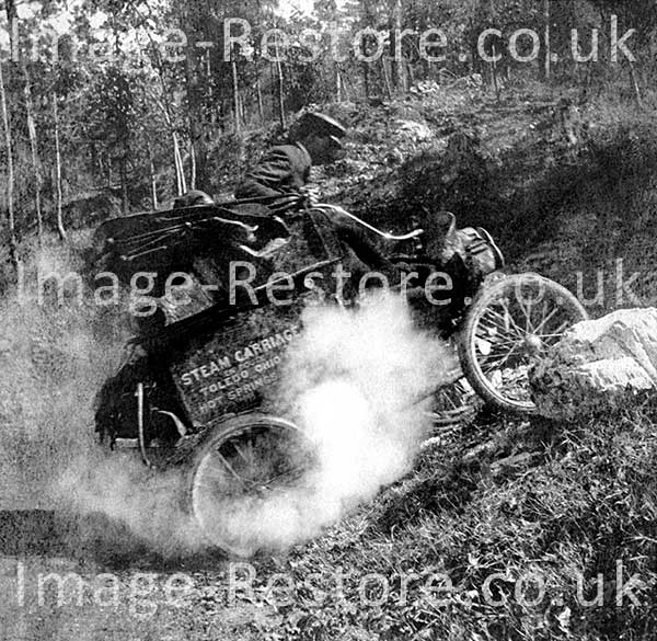 Toledo Steam Carriage showing it power in climbing a slope 1902 on its way back home 871 miles across America.