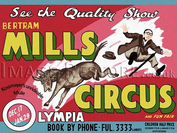 Vintage circus poster recreation. Poster fully recreated.
