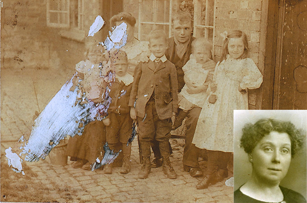 Aurthur and Alice Wixon and their family 1908 in need of repair.