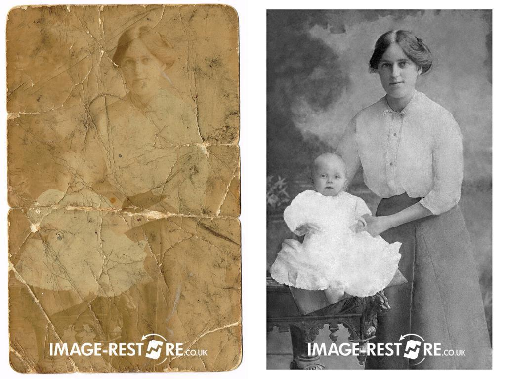 Photo restoration sample of severely damaged 105 year old photo restored