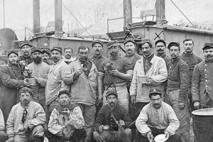 Pierre Rivet with his comrades bakers, Verdun, 4 April 1915