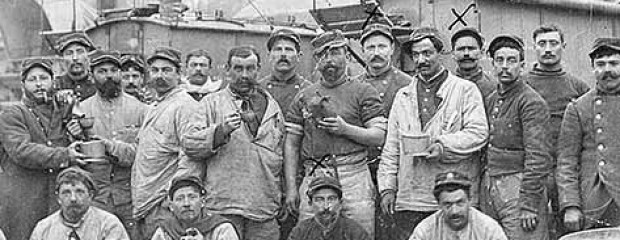 Pierre Rivet with his comrades bakers, Verdun, 4 April 1915