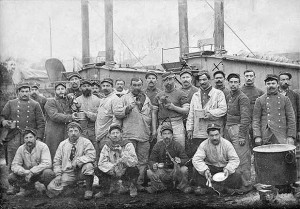 Pierre Rivet with his comrade bakers, Verdun, 4 April 1915