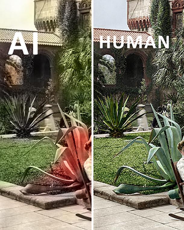 AI colorizing human vs AI closeup