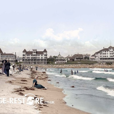 Digitally Coloured Image - Bathing at York Beach, Maine 1906 - Image source Shorpy.com