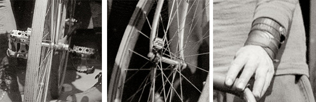 """Close up details from photo May 3, 1913. """"Fred J. Scherer and Walter Wiley at the start of New York to Close ups of San Francisco bicycle race."""""""
