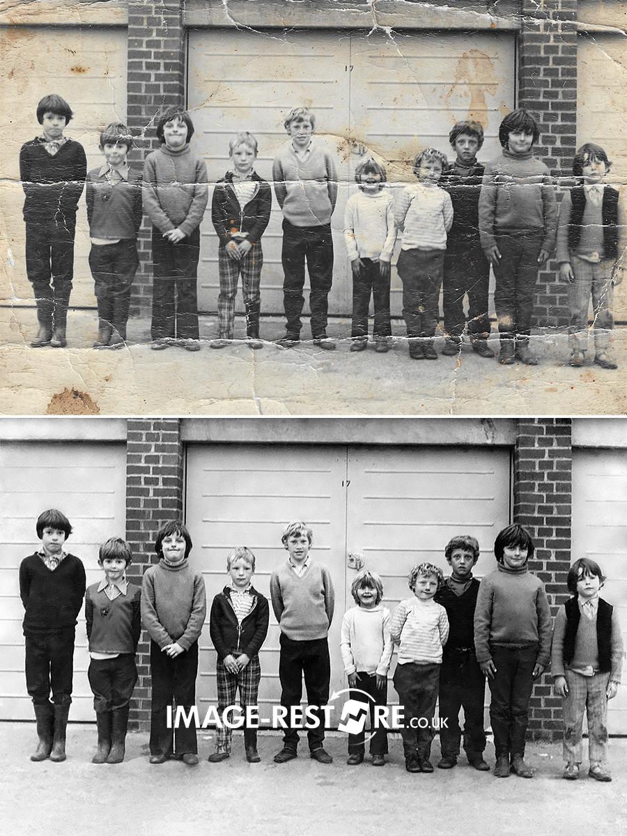 Childhood friends photo restored