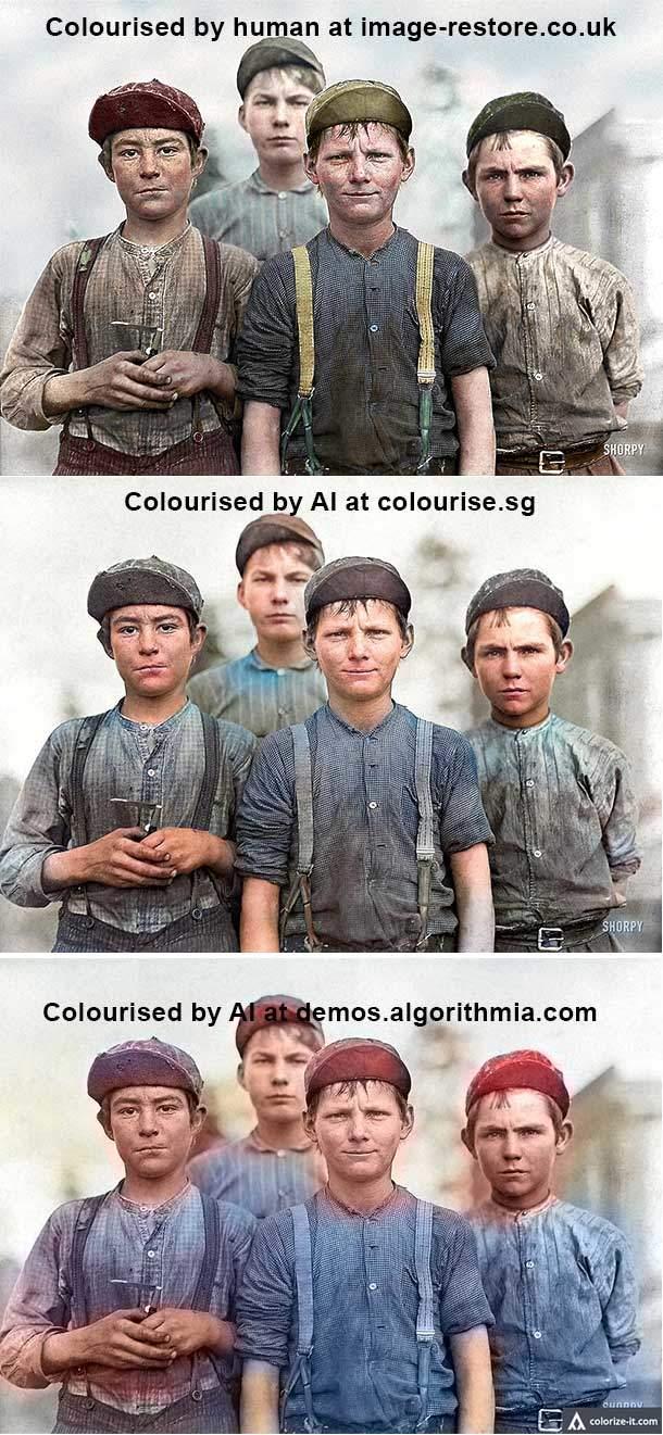 Colourising by AI vs Human comparison