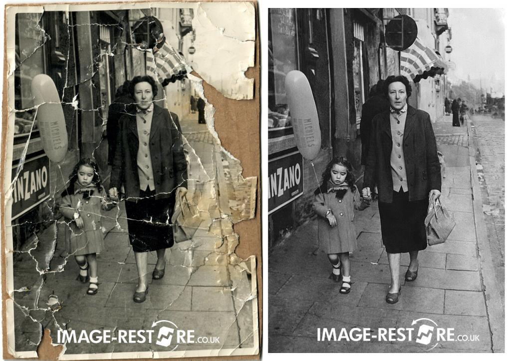 photo restoration sample of a dog chewed photo restored and the background recreated