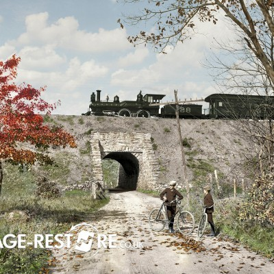 Digitally coloured Image - Grade separation near Arlington New Jersey circa 1900 - image source Shorpy.com
