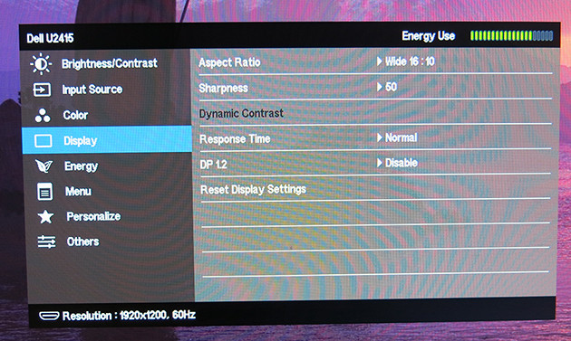 Del Ultrasharp U2415 settings