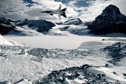 Snow scene jet fighter