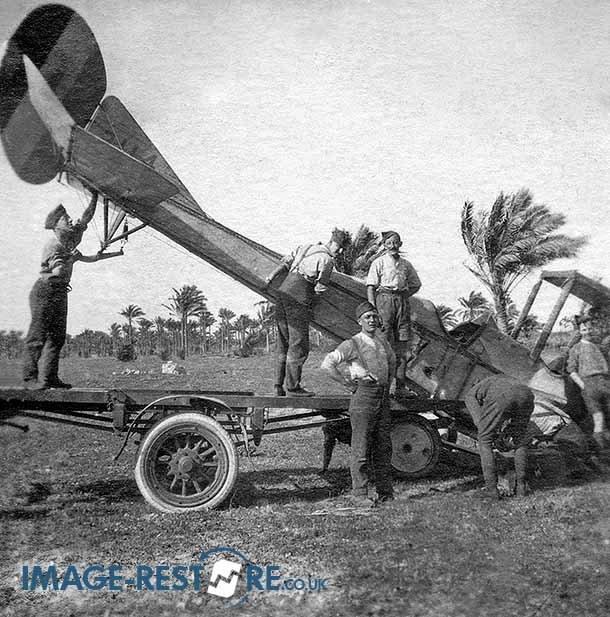 Royal Flying Corps Egypt loading crashed aircraft 3114