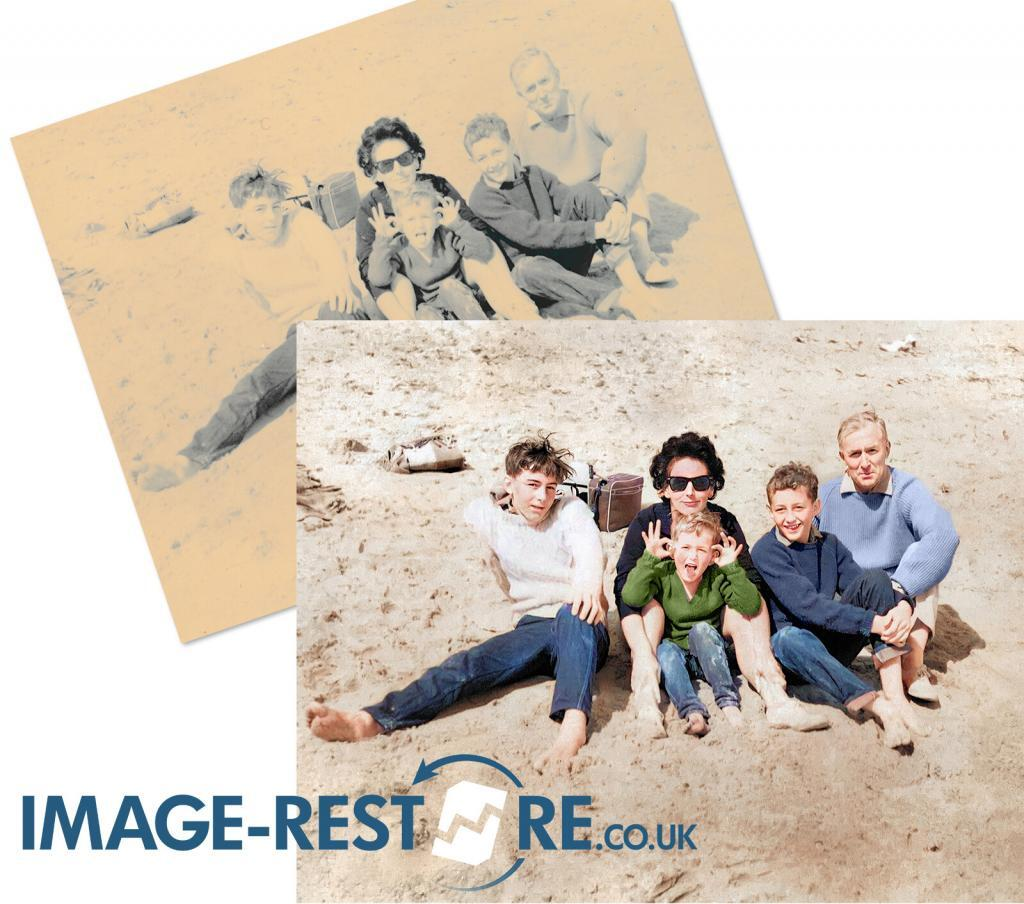 photo restoration sample badly faded beach photo restored