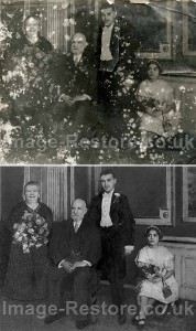 Aged, torn and water damaged photo restored
