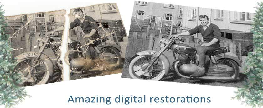 Ripped, torn and folded photo restorations for Christmas