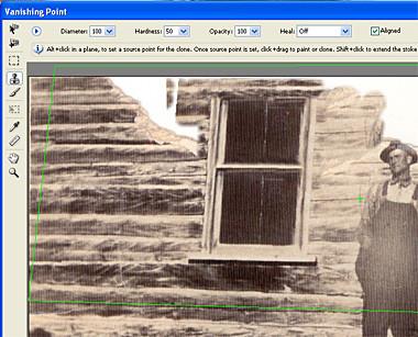 Photo restoration tutorial using vanishing point and clone