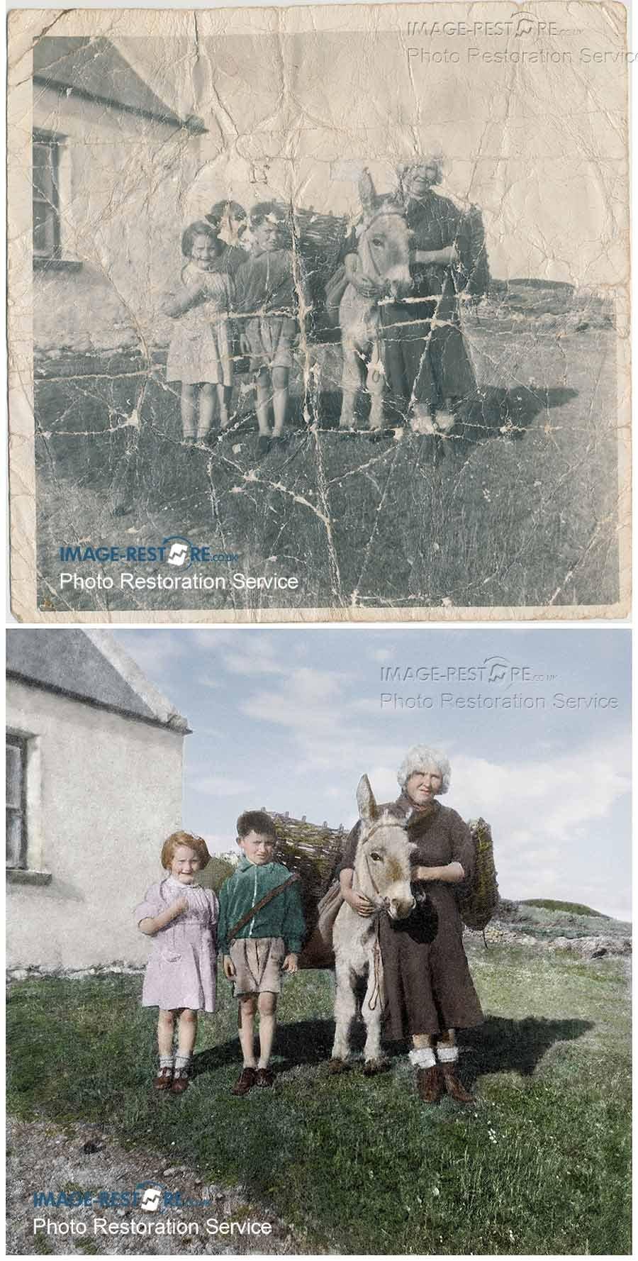 damaged sepia photo coloured