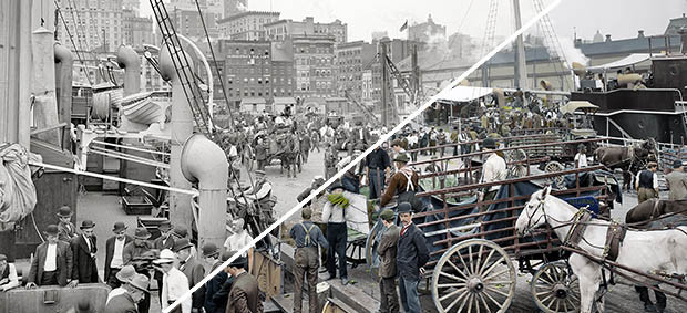 Historic photos should sepia or black and white or colour?