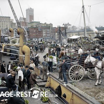 Digitally coloured image of Bananadocks 1905- Image source - Shorpy.com