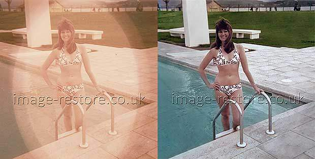 Restoring colour faded framed photo before and after