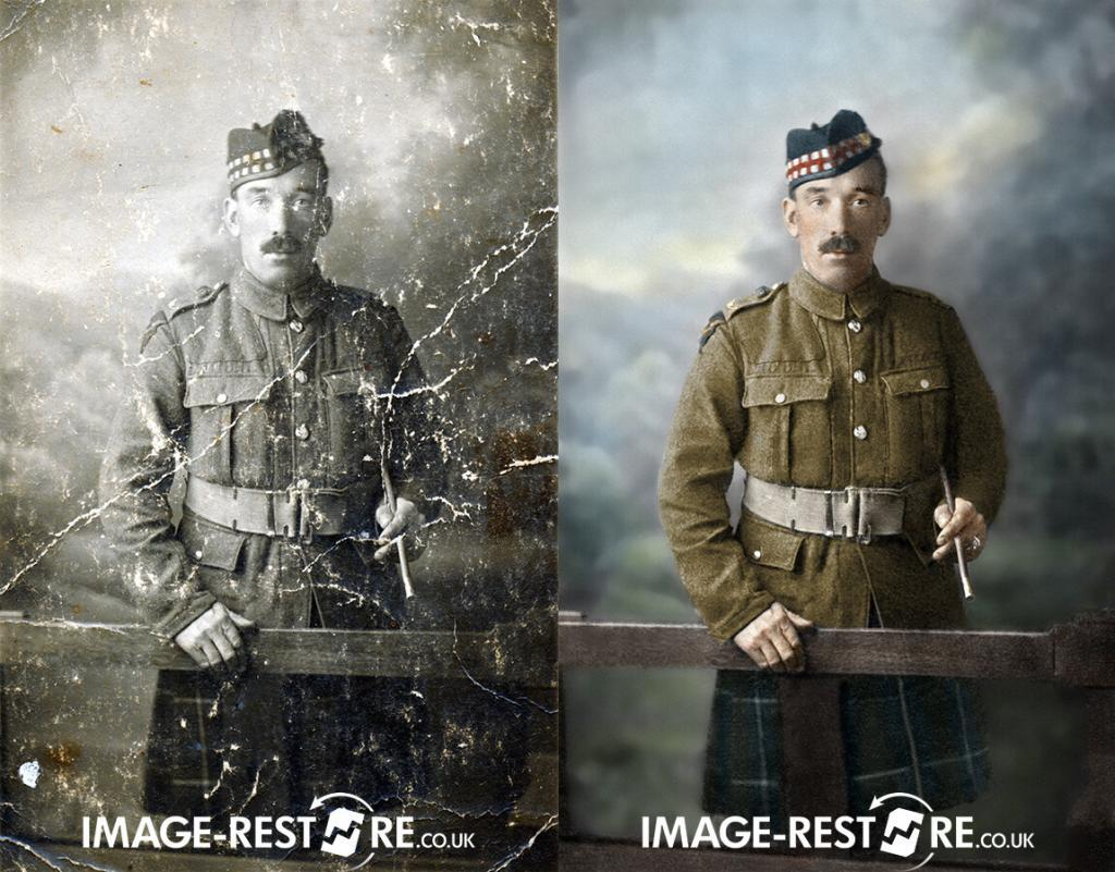 colour and restored photo of a Scotsman