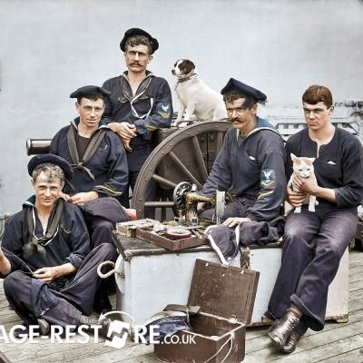 Digitally coloured image - 1896 USS New York - Sailors - image source Shorpy.com