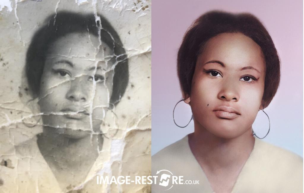 Amazing photo restoration sample of restored and colourised portrait