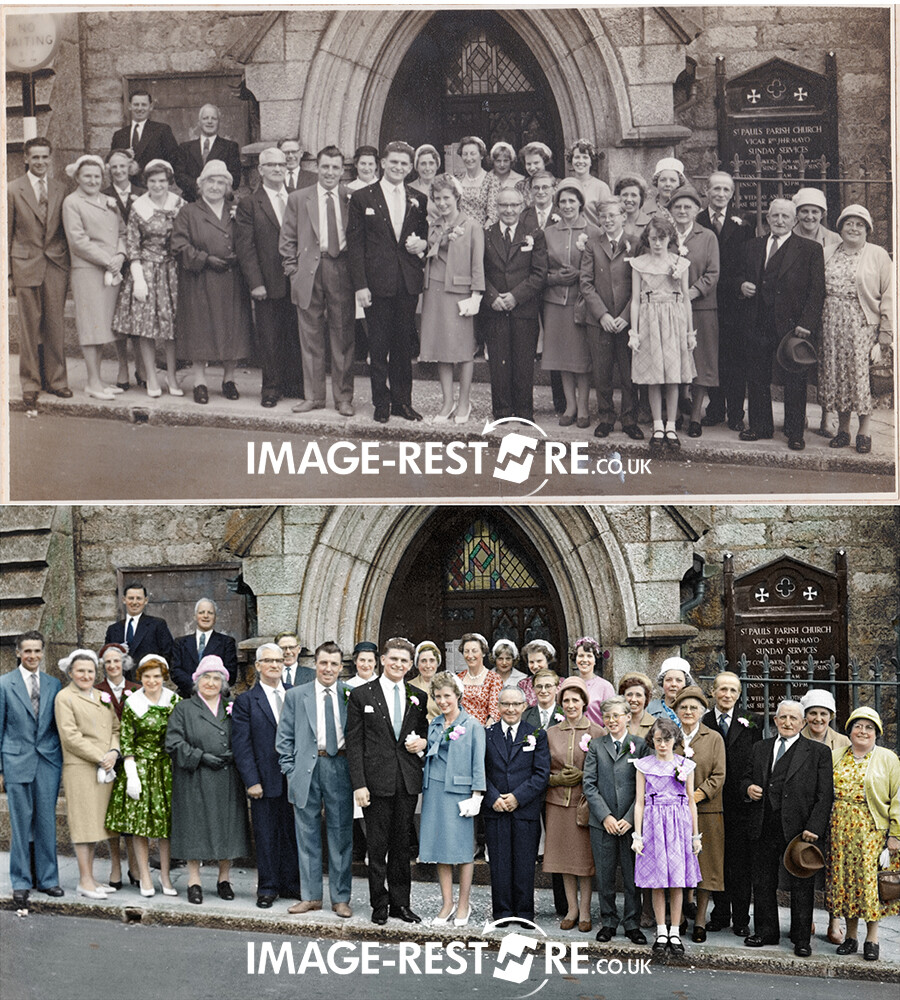 Photo restoration sample of a colourized wedding group