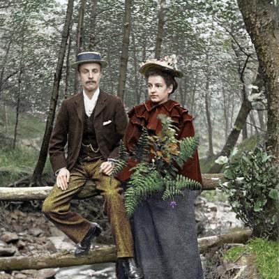 Digitally coloured - Couple in Barnsley woods 1898