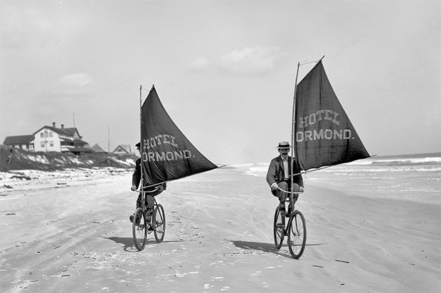 """Volusia County, Florida, circa 1903 """"Bicycles with sails"""""""
