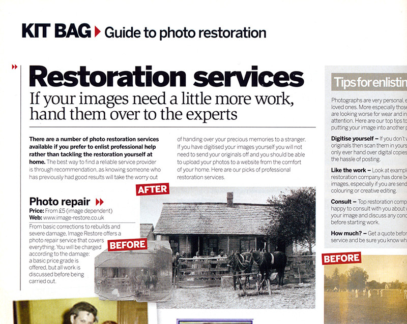 Image-restore.co.uk in Digital Photographer magazine.