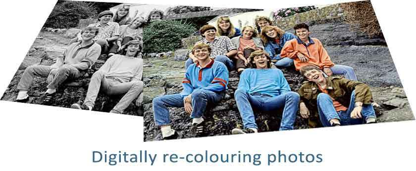 Digitally colouring black and white photos
