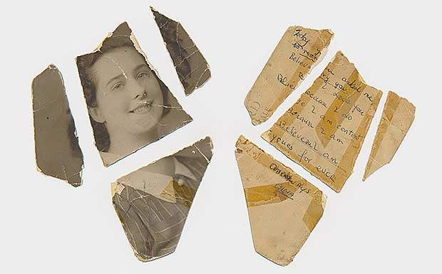 Old torn postcard restoration with marriage message