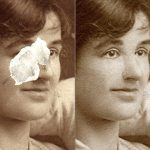 Photo restoration or invention – photos with missing pieces.