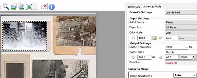 Scanning software for multiple images as once
