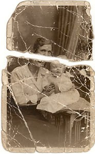 Folded and crease photo before restoration