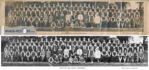 An old photo of Grosvenor High School, Shaftesbury, restore.
