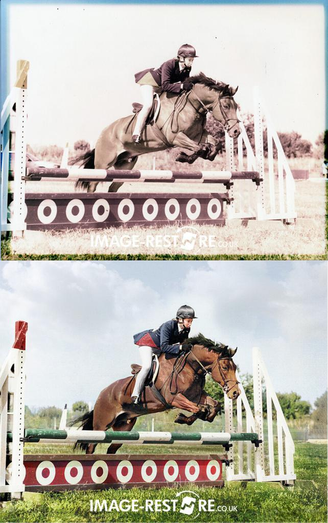horse jumping photo restored and colourised