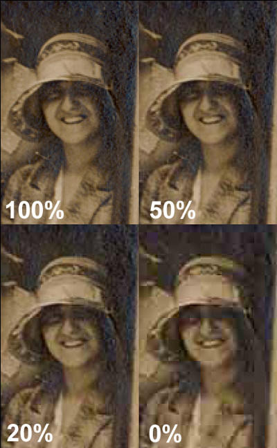 JPEG setting from 100% to 0%